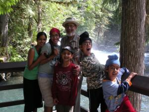 2.4 Ravinder Ravi & his 5 grandchildren - Manpriya, Mohnaam, Ravinder Ravi, Kurbaan, Eimaan and Saagar(in front) - Vetter Falls, Nass Valley, BC, Ca