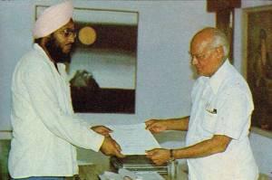 1. Ravinder Ravi receiving Punjab Arts Council Award from Dr. M.S. Randhawa - Chandigarh - 1981(FILEminimizer)