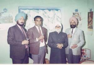 11. Ravinder Ravi, Hardyal(Neta ji), Prof. Piara Singh Gill & Sant Singh Sekhon - Jalandhar, India, December, 1969